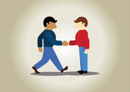 Meeting with partners simple cartoon vector