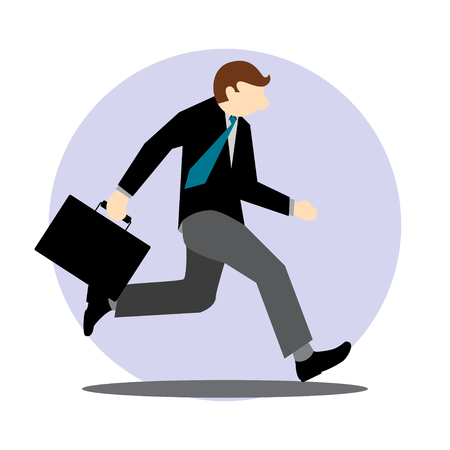 busy person: Simple Business Cartoon Vector Illustration Icon  Running Late to go to Office Illustration