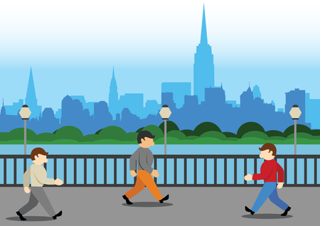 curb: Simple Cartoon Vector Illustration walking in the city