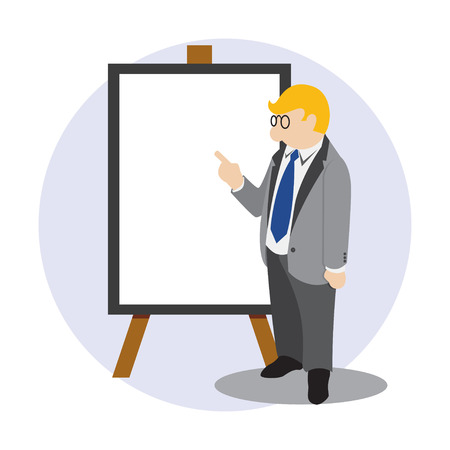 Simple business cartoon icon leader do presentation Illustration