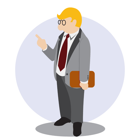 Simple business cartoon icon leader do inspection