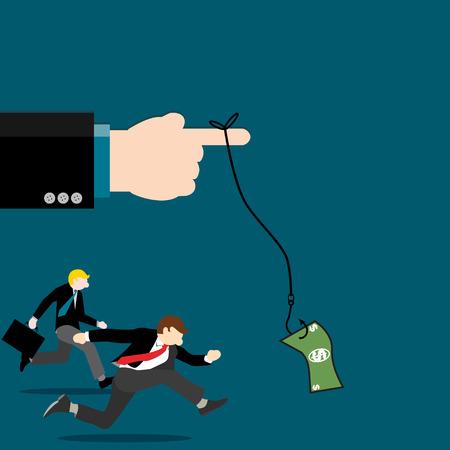 Simple business cartoon iillustration of leader use dollar bait to motivate