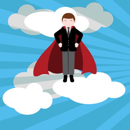 Simple business cartoon illustration of Businessman hero 3