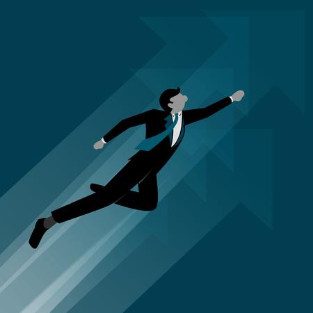 Simple business cartoon iillustration of Businessman hero 4 Illustration