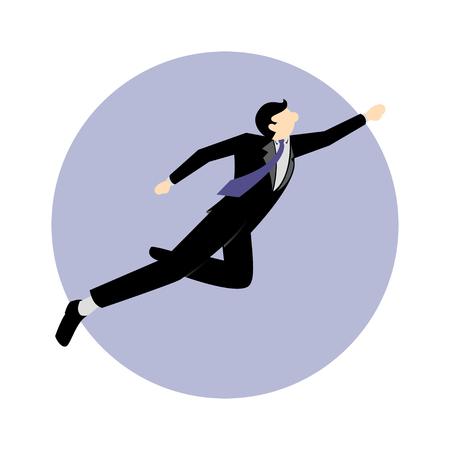 solver: Simple business cartoon iillustration of Businessman hero 5 Illustration