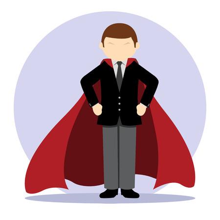 Simple business cartoon iillustration of Businessman hero Illustration