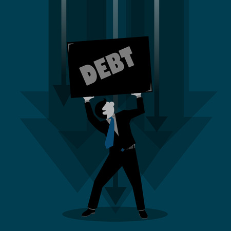 stressed people: Simple business cartoon illustration of a man presurre by debt
