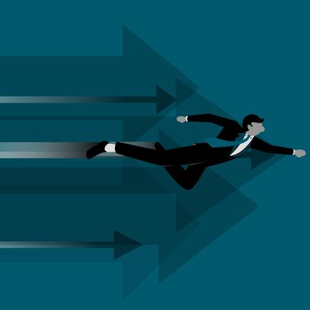 Simple business cartoon iillustration of Businessman as saviour go forward Illustration