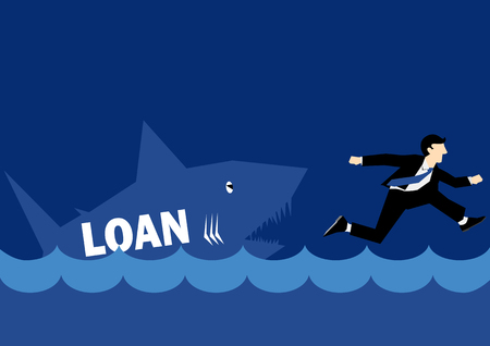 chased: Business Illustration of a businessman chased by Loan Shark
