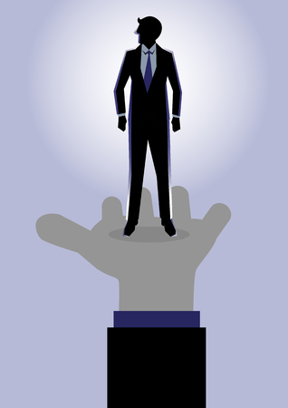 chosen: Business Illustration of a businessman stand in leader palm as a symbolism of chosen one Illustration
