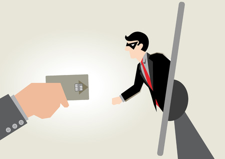 Business Illustration of credit card Fraud in internet