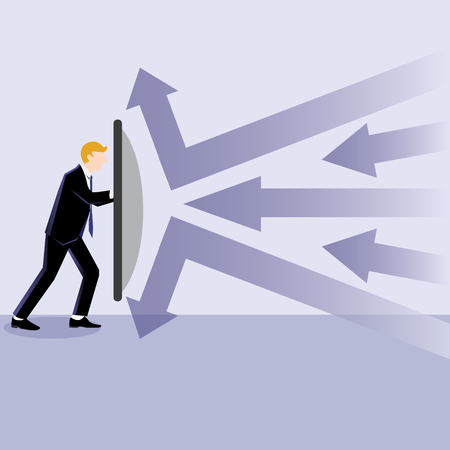 Business Illustration of a businessman defend with shield against any risk Illustration