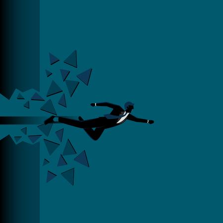 Business Illustration of a businessman breaking a barrier Illustration