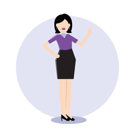 describe: Simple Business icon of a business woman do presentation Illustration