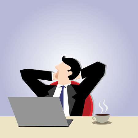 relaxar: Business Illustration of a businessman relax in his seat