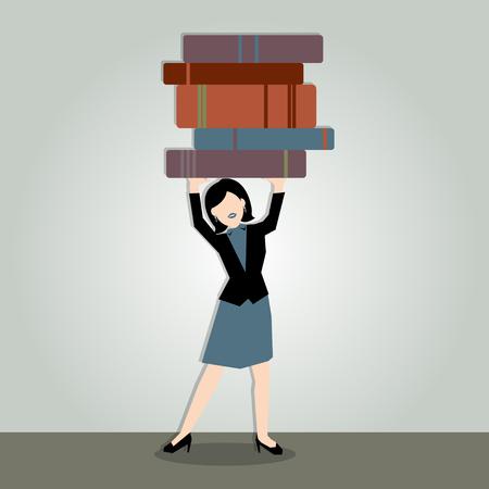 under pressure: Business Illustration of a business woman under pressure