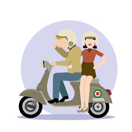 Simple cartoon icon of man and woman ride scooter