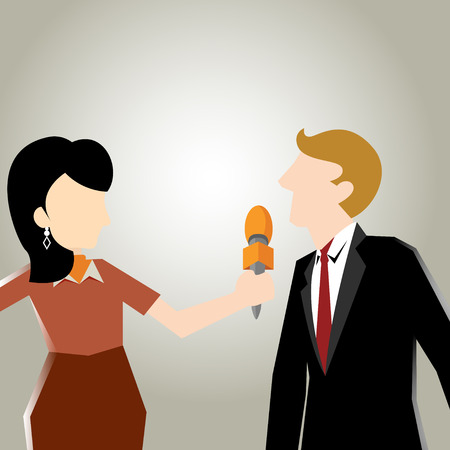 clarify: Business illustration of media interview in close up