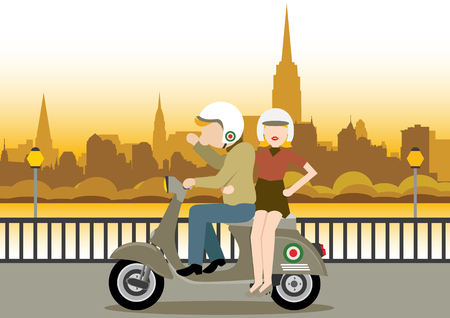Simple cartoon illustration of man and woman ride scooter at sunset