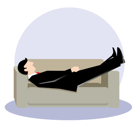 recess: Simple business illustration of a man sleep at sofa