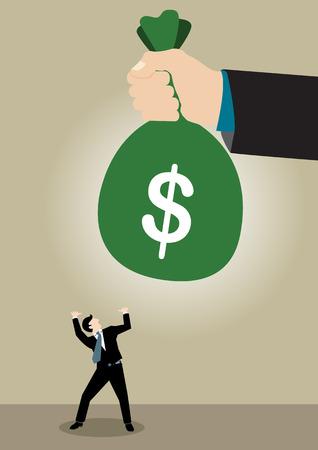 commision: Simple business concept illustration of a businessman shock got big bonus
