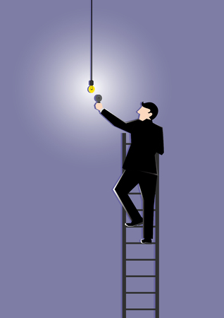 concept and ideas: Simple business concept illustration of a businessman changing buld as a symbolism of changing old ideas to new ideas