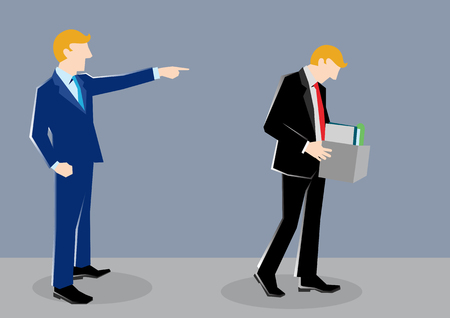 Einfache Geschäfts-Karikaturillustration eines Mannes, der durch seinen Chef gefeuert wird