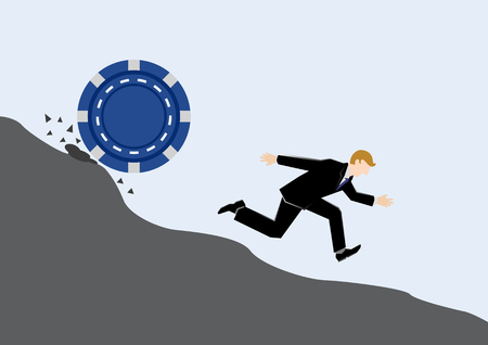 Simple business concept illustration of a businessman run chased by blue chip