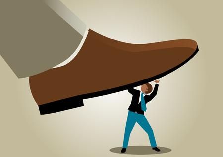 under pressure: Simple business cartoon illustration of a businessman under pressure Illustration