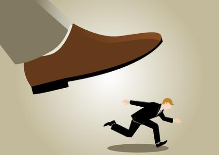 avoid: Simple business cartoon illustration of a businessman avoid danger