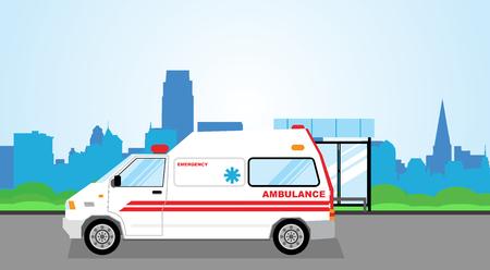 Simple cartoon illustration of an Ambulance in the city street Illustration
