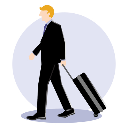 Simple business cartoon illustration of a businessman walk with luggage