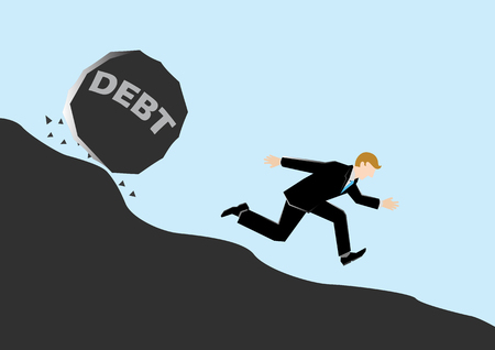 fearful: Simple business cartoon illustration of a businessman chased by debt Illustration