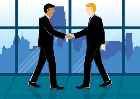 Simple business cartoon illustration of 2 businessmen shake hands Illustration