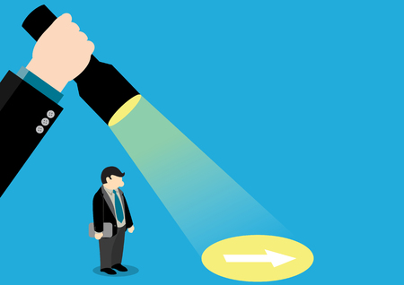lead: Simple business cartoon illustration of a businessman help by hand that use flashlight to guide him to see the direction.