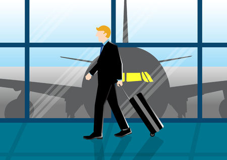 Simple business cartoon illustration of a businessman at the airport just arrive from his trip