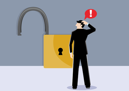 Simple business cartoon illustration a businessman shock see unlock security lock as a symbolism of untrust unsafe and unsecure Illustration
