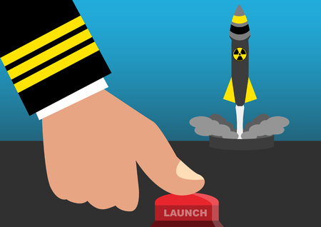 military press: Simple cartoon concept illustration of a commander press launch button to launch nuclear missile