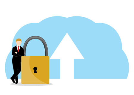 Simple business cartoon illustration a businessman standing in a side of a security lock as a symbolism of trust, safe and secure for Cloud data