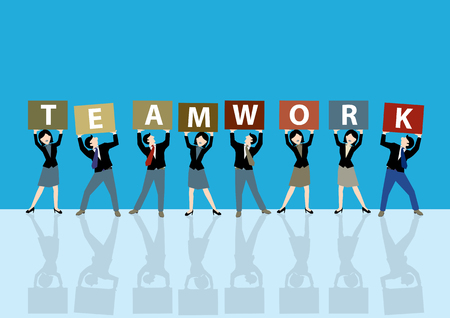 Simple business cartoon illustration a group of men and women shows their teamwork board as a symbolism of together and teamwork