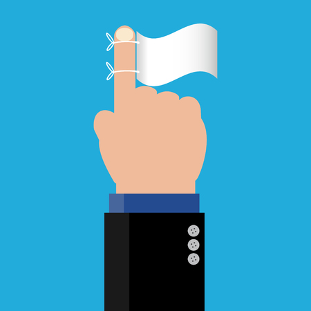 Simple business cartoon illustration a businessman point his finger with white flag as a symbolism of surrender