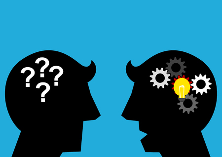 Simple silhouette illustration of 2 men talk each other as a symbolism of transfer knowledge
