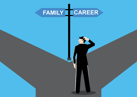 Simple business cartoon illustration of a businessman have to decide his path between family or career