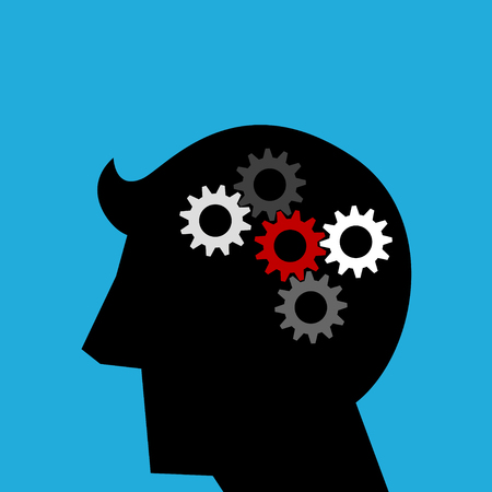 Simple silhouette illustration of thinking