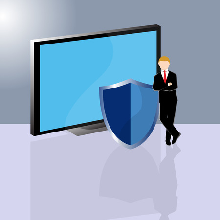 Simple business cartoon illustration a businessman standing infront of computer with shield as a symbolism of internet security