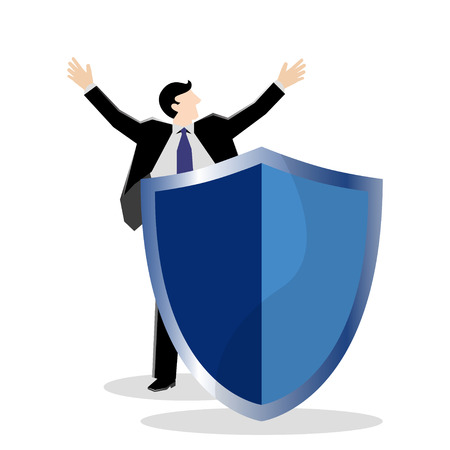 Simple business cartoon illustration a businessman raise hand with shield as a symbolism of secured