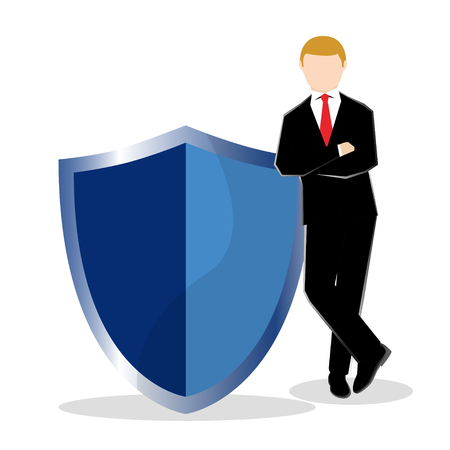 Simple business cartoon illustration a businessman standing with shield as a symbolism of secured