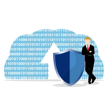 Simple business cartoon illustration a businessman standing infront of cloud symbol with shield as a symbolism of internetcloud data security