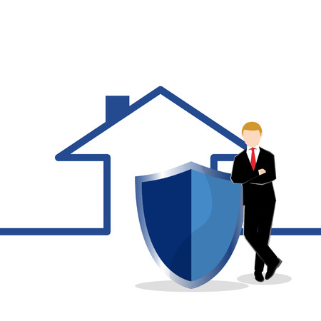 Simple business cartoon illustration a businessman standing with shield in-front of a house as a symbolism of secured or insurance. Illustration