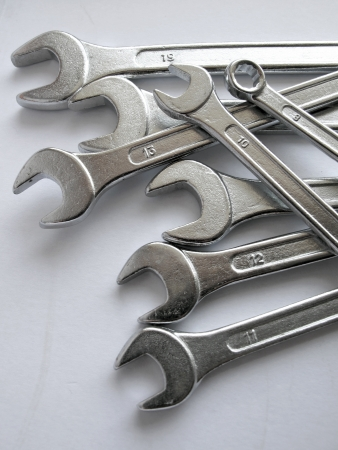 wrenches on white background